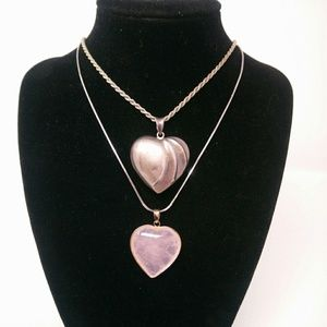 Rose Quartz Heart Necklace Gemstone Pendant on 925